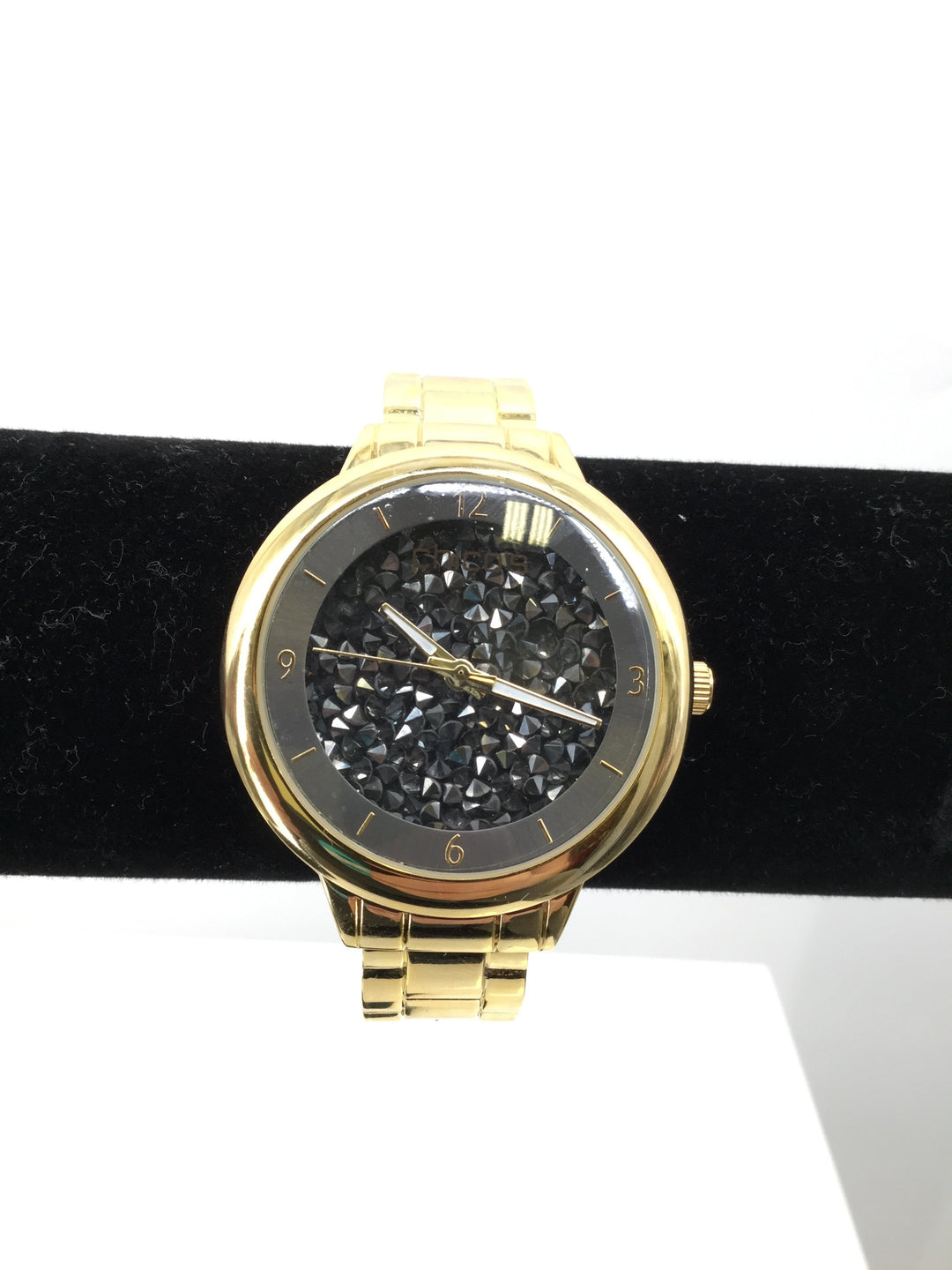 Chico's watch - <P>NEW! GOLD WATCH WITH BLACK CRYSTALS IN THE FACE OF THE WATCH. STAINLESS STEEL BACK AND WHITE AND GOLD CLOCK HANDS.</P>
