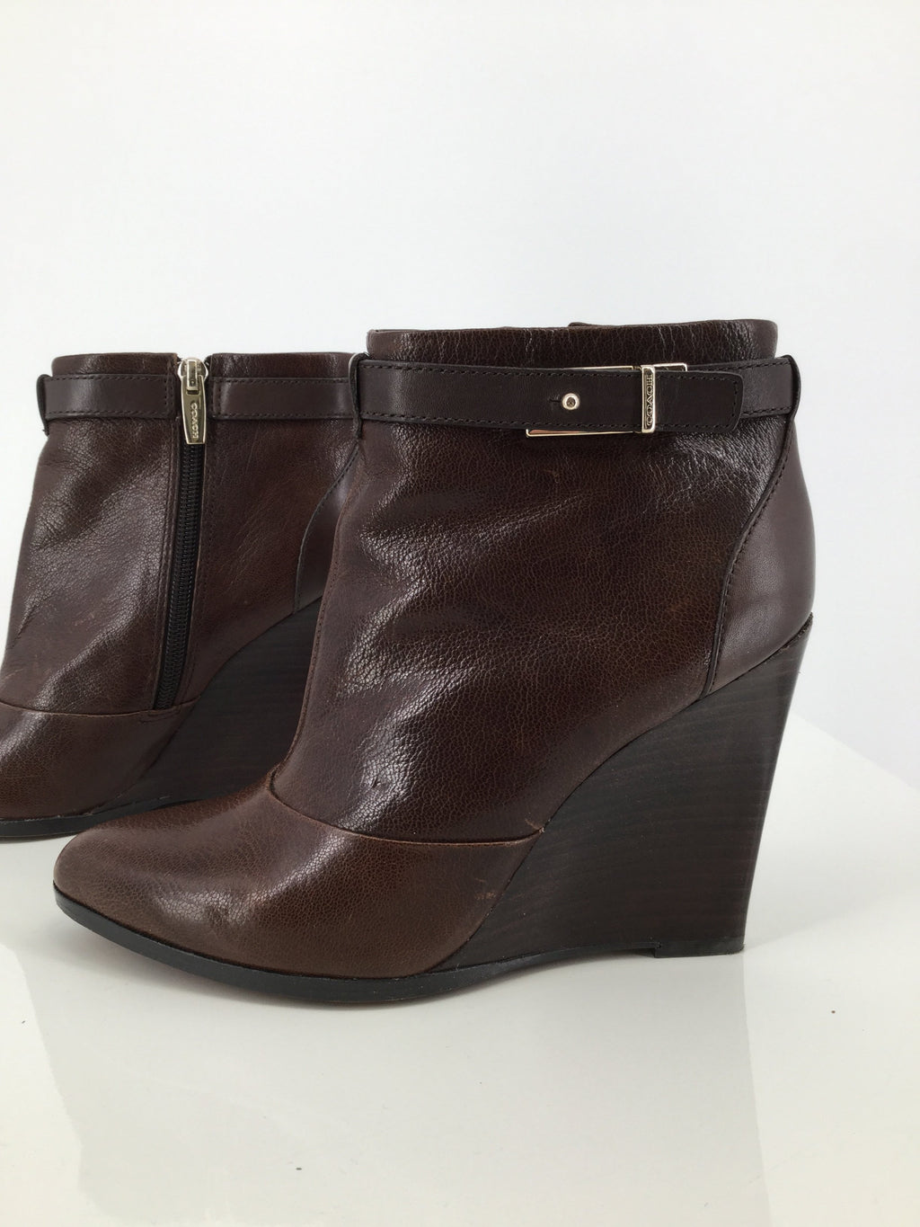 Coach Brown Leather Ankle Boots Size 7