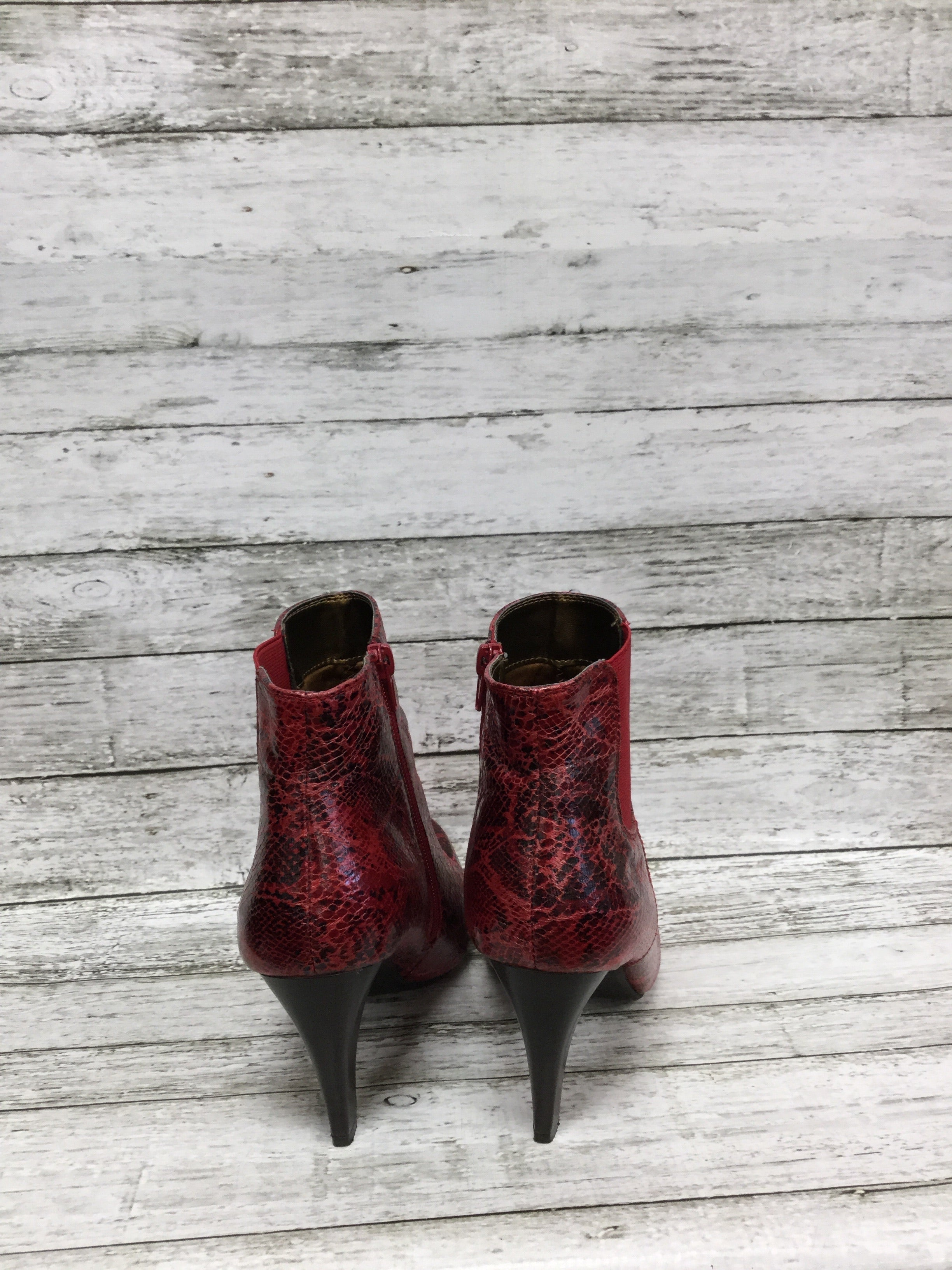 Photo #3 - BRAND: RIALTO , STYLE: BOOTS ANKLE , COLOR: RED , SIZE: 8.5 , SKU: 127-4876-8622, , RED SNAKESKIN HEELED BOOTIES!