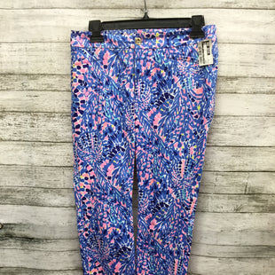 Primary Photo - BRAND: LILLY PULITZER STYLE: PANTS COLOR: BLUE SIZE: 0 SKU: 127-4072-2309LILLY PULITZER PANTS IN TEXTURED FABRIC FEATURING BLUE, NAVY AND PINK PATTERN WITH POPS OF YELLOW AND SEA FOAM GREEN! FEATURES GOLD BUTTON DETAIL AND BLUE STITCHING.