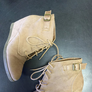 Primary Photo - BRAND: MADDEN GIRL STYLE: BOOTS ANKLE COLOR: TAN SIZE: 7.5 SKU: 127-3371-43840LACE UP WEDGE HEELS IN GOOD CONDITION.