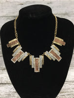 Photo #1 - BRAND:    CMD , STYLE: NECKLACE SET , COLOR: GOLD , SKU: 127-2767-89389, , NECKLACE AND MATCHING EARRINGS SET!