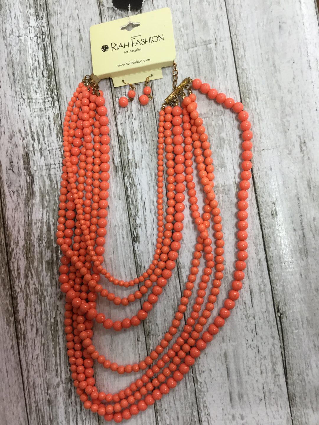 Primary Photo - BRAND:   CMC , STYLE: NECKLACE SET , COLOR: CORAL , SIZE: 02 PIECE SET , OTHER INFO: RIAH FASHION - , SKU: 127-4954-5834, , 2 PIECE SET OF CORAL BEAD NECKLACE AND EARRINGS!