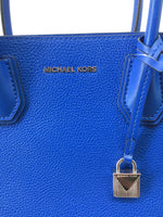 NEW! Michael Kors Handbag Size:medium - <P>NEW! BLUE MEDIUM SIZE MICHAEL KORS HANDBAG WITH REMOVABLE STRAP. SILVER DETAILING AND INTERIOR HAS THREE SECTIONED OFF POCKETS, THE MIDDLE CONTAINING A ZIPPERED CLOSURE AND KEY FINDER.</P>