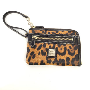 Animal Print Leather Dooney And Bourke Wristlet - LEATHER CHEETAH PRINT WRISTLET WITH BLACK TRIM AND GOLD DETAILING AND ONE ZIPPERED EXTERIOR POCKET. RED INTERIOR WITH EIGHT CARD SLOTS. GENTLY USED CONDITION..