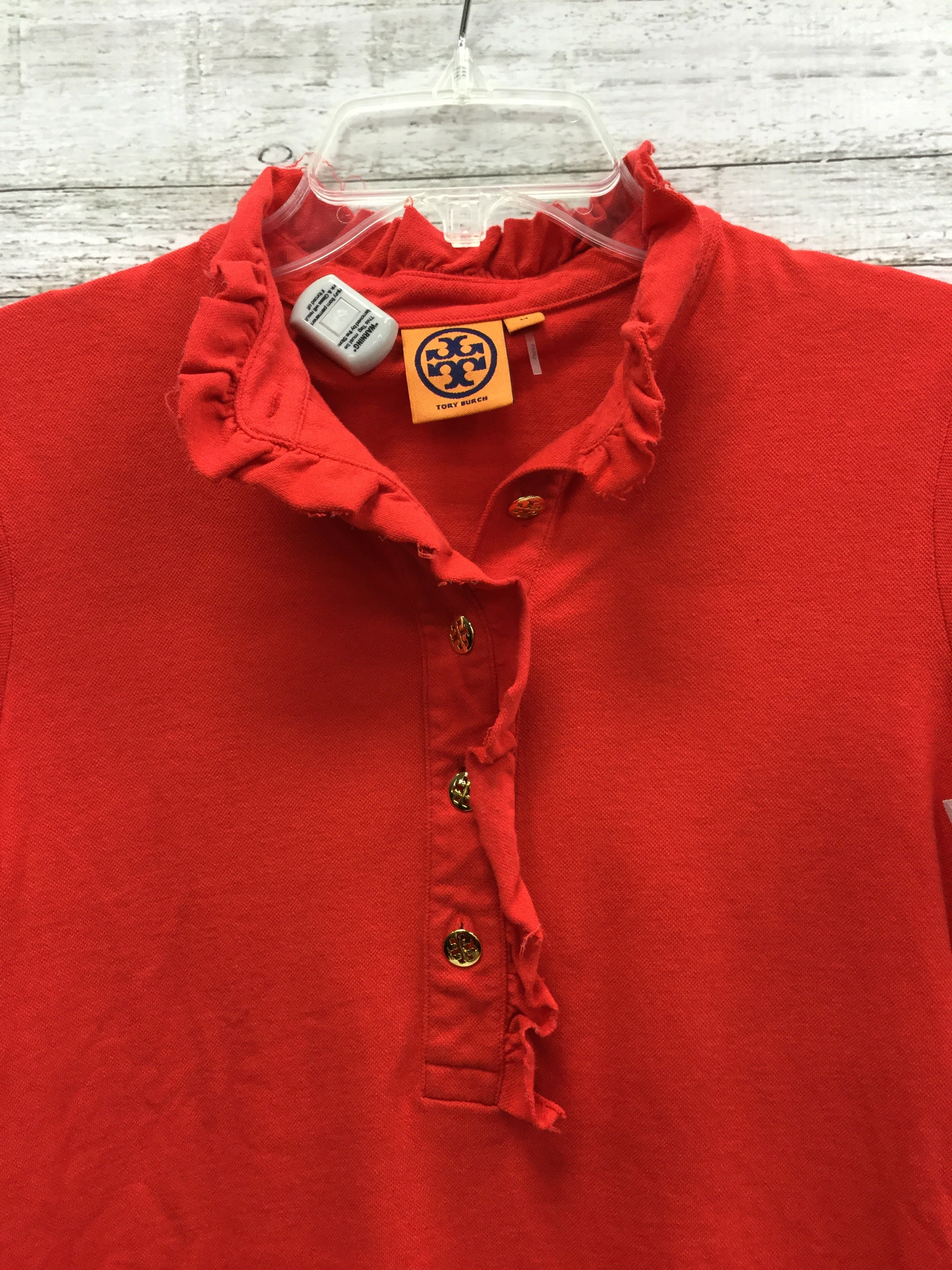 Photo #1 - BRAND: TORY BURCH , STYLE: TOP SHORT SLEEVE , COLOR: RED , SIZE: M , OTHER INFO: AS IS , SKU: 127-4876-8145, , THE COLLAR OF THIS TOP IN GENTLY USED. OTHERWISE THIS TOP IS IN GREAT CONDITION.