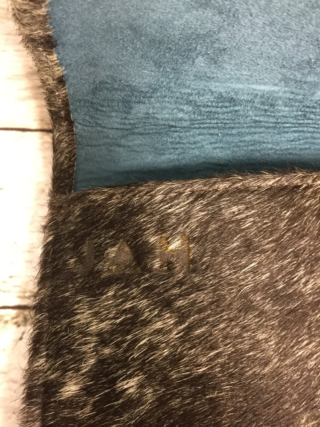 Photo #2 - BRAND:    CMD , STYLE: CLUTCH , COLOR: ANIMAL PRINT , OTHER INFO: JACKSON AND HYDE - , SKU: 127-4942-3369, , THIS CLUTCH IS HAIR-ON COWHIDE EXTERIOR WITH BLUE SUEDE INSIDE. IT CLOSES MAGNETICALLY. IT'S IN GREAT CONDITION AND COMES WITH A SLEEPER BAG!