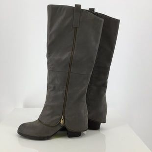 Fergalicious Grey Knee Boots Size: 8.5 - THESE FERGALICIOUS BOOTS WOULD LOOK GREAT WITH ANY OUTFIT! THEY HAVE A DECORATIVE ZIPPER ON THE OUTSIDE AND A FUNCTIONING ZIPPER ON THE INNER SIDE OF THE BOOT. THEY ARE A GREY SIZE 8.5 WITH GOLD ZIPPERS. THEY ARE VERY GENTLY USED AND LOOK LIKE THEY HAVE NOT BEEN WORN MUCH..