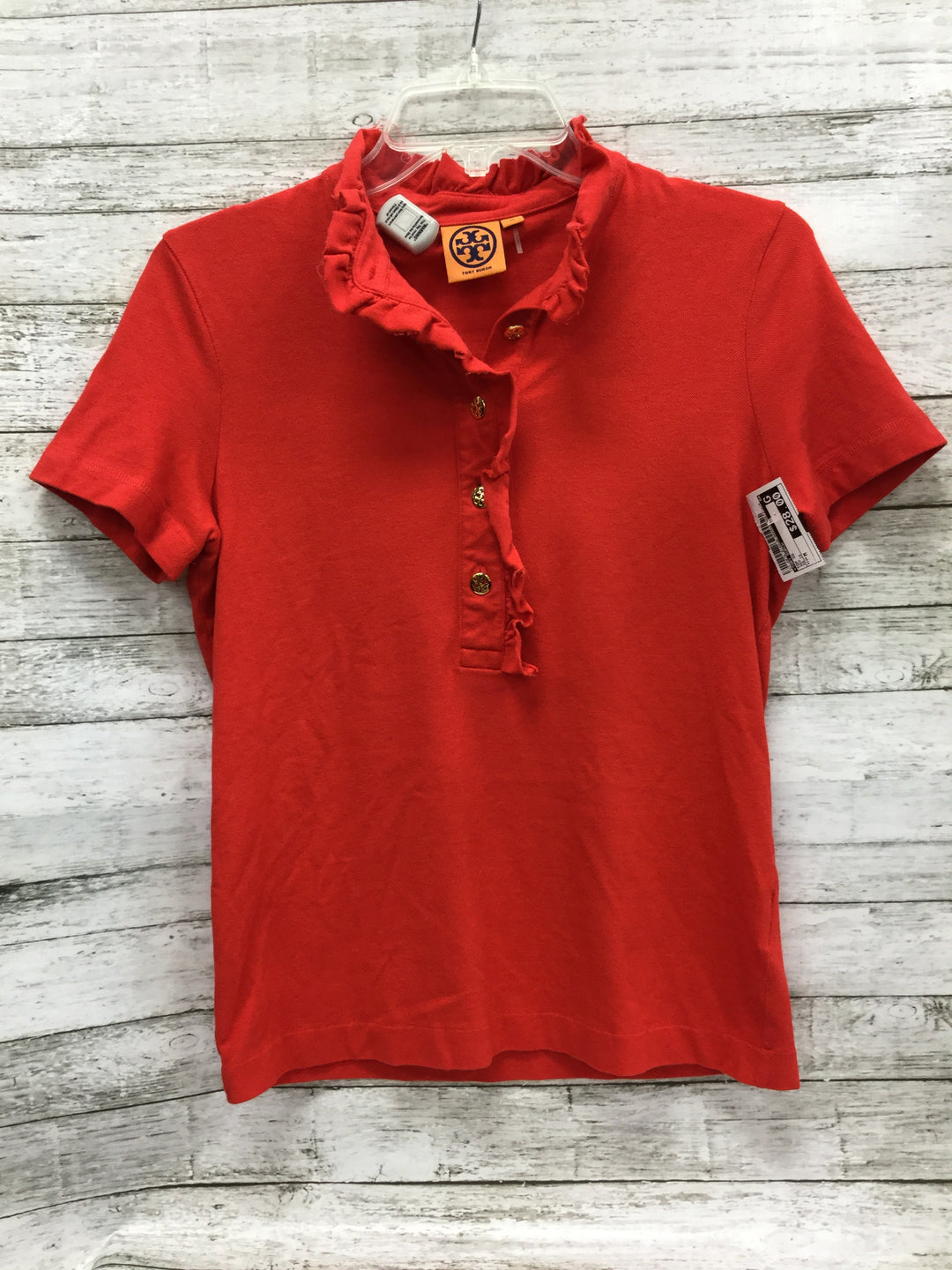 Primary Photo - BRAND: TORY BURCH , STYLE: TOP SHORT SLEEVE , COLOR: RED , SIZE: M , OTHER INFO: AS IS , SKU: 127-4876-8145, , THE COLLAR OF THIS TOP IN GENTLY USED. OTHERWISE THIS TOP IS IN GREAT CONDITION.