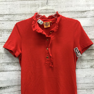 Primary Photo - BRAND: TORY BURCH STYLE: TOP SHORT SLEEVE COLOR: RED SIZE: M OTHER INFO: AS IS SKU: 127-4876-8145THE COLLAR OF THIS TOP IN GENTLY USED. OTHERWISE THIS TOP IS IN GREAT CONDITION.