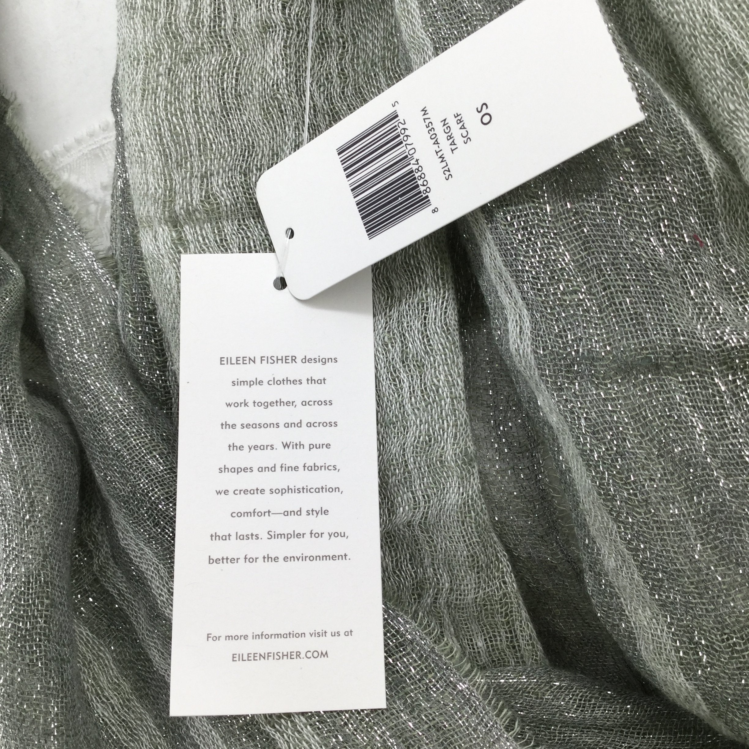 EILEEN FISHER SCARF - <P>EILEEN FISHER LINEN SCARF IN A BEAUTIFUL TARGN GREEN COLOR.,  NEW WITH TAGS.,  LINEN, VISCOSE AND NYLON.,  DRY CLEAN.</P>