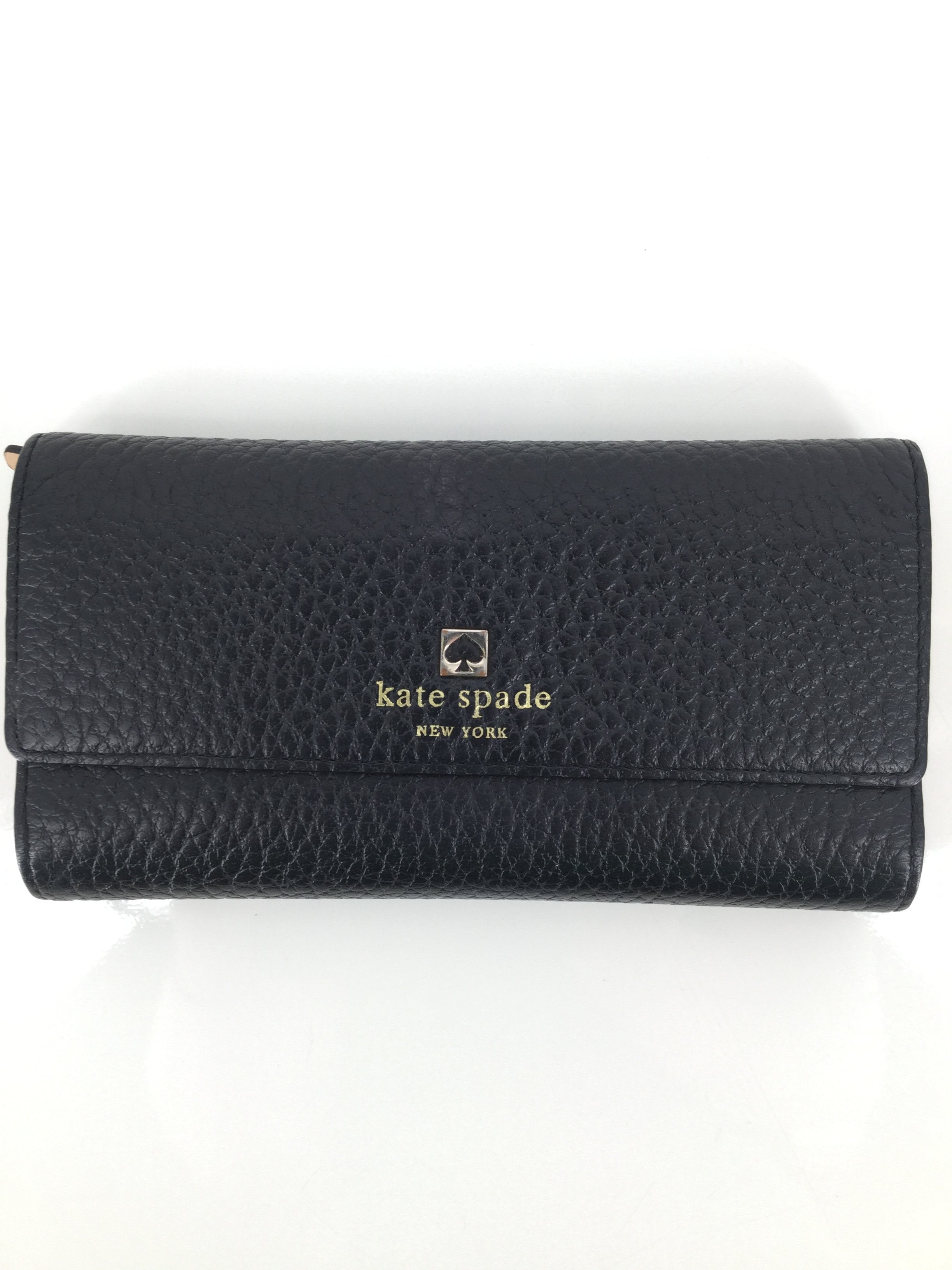 Kate Spade Wallet, Black, Medium - <P>SUPER TRENDY KATE SPADE DESIGNER WALLET. SHOWS VERY SLIGHT SIGNS OF WEAR. MAKE HER YOURS FOR ONLY $45.</P>