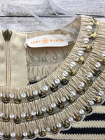 Photo #3 - BRAND: TORY BURCH , STYLE: DRESS SHORT SLEEVELESS , COLOR: STRIPED , SIZE: S , SKU: 127-4169-35679, , CREAM AND BLACK KNIT TORY BURCH DRESS! SEQUIN TRIM DETAIL AROUND NECK AND CAP SLEEVES.