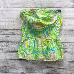 Primary Photo - BRAND: LILLY PULITZER STYLE: TOP SLEEVELESS COLOR: GREEN SIZE: 0 SKU: 127-3371-45720FUN LILLY PULITZER STRAPLESS PEPLUM TOP IN WHITE, GREEN, PINK BLUE AND ORANGE LEAFY PRINT! FEATURES GOLD ZIPPER IN BACK.