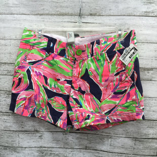 Primary Photo - BRAND: LILLY PULITZER STYLE: SHORTS COLOR: NAVY SIZE: 0 SKU: 127-4876-7118LILLY PULITZER SHORTS WITH NAVY, GREEN, PINK, RED AND TURQUOISE LEAFY PRINT! FEATURES A GREEN BUTTON.