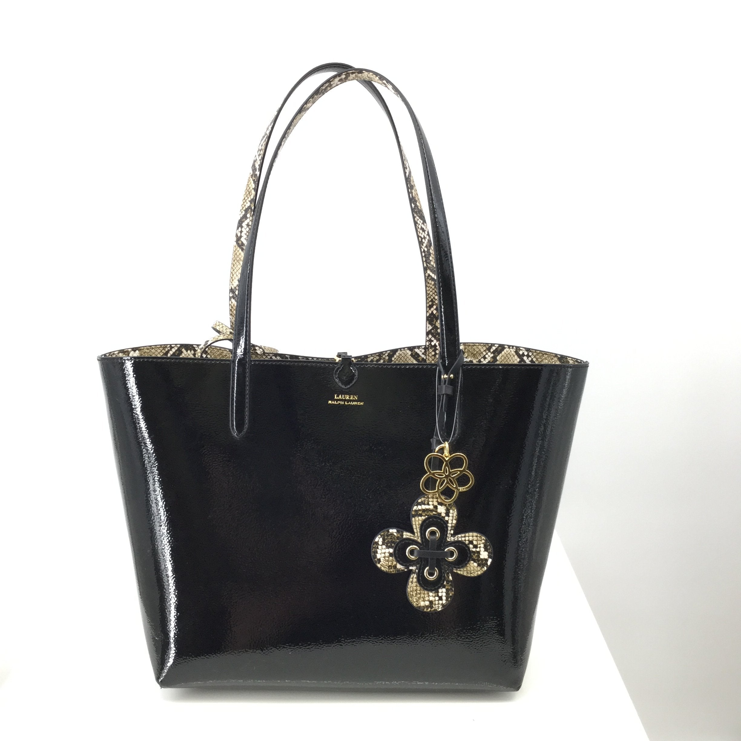 Lauren By Ralph Lauren Handbag Designer Size:medium - <P>BLACK MEDIUM SIZED LAUREN BY RALPH LAUREN TOTE WITH SNAKE PRINT INTERIOR. COMES WITH KEYCHAIN AND MATCHING POUCH.</P>