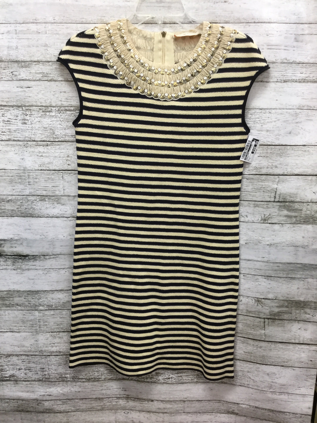 Primary Photo - BRAND: TORY BURCH , STYLE: DRESS SHORT SLEEVELESS , COLOR: STRIPED , SIZE: S , SKU: 127-4169-35679, , CREAM AND BLACK KNIT TORY BURCH DRESS! SEQUIN TRIM DETAIL AROUND NECK AND CAP SLEEVES.
