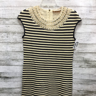 Primary Photo - BRAND: TORY BURCH STYLE: DRESS SHORT SLEEVELESS COLOR: STRIPED SIZE: S SKU: 127-4169-35679CREAM AND BLACK KNIT TORY BURCH DRESS! SEQUIN TRIM DETAIL AROUND NECK AND CAP SLEEVES.