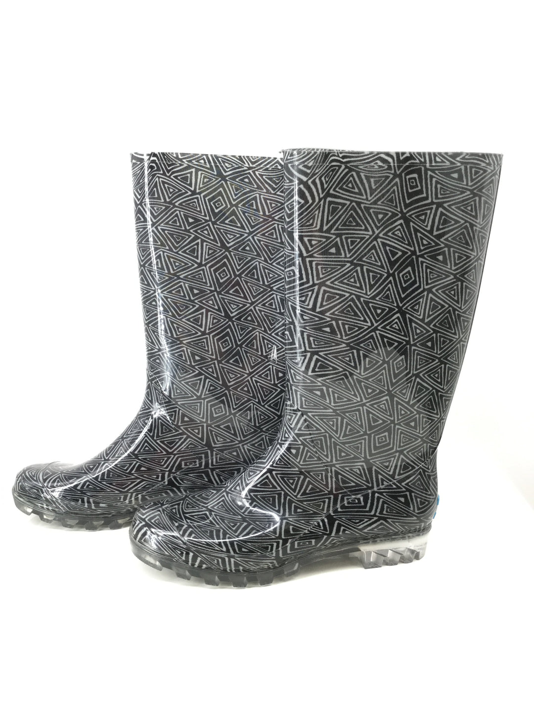 Toms Boots Rain Size:10 - <P>BLACK TOMS RAIN BOOTS SIZE 10. BLACK AND WHITE TRIANGULAR DESIGN.</P>