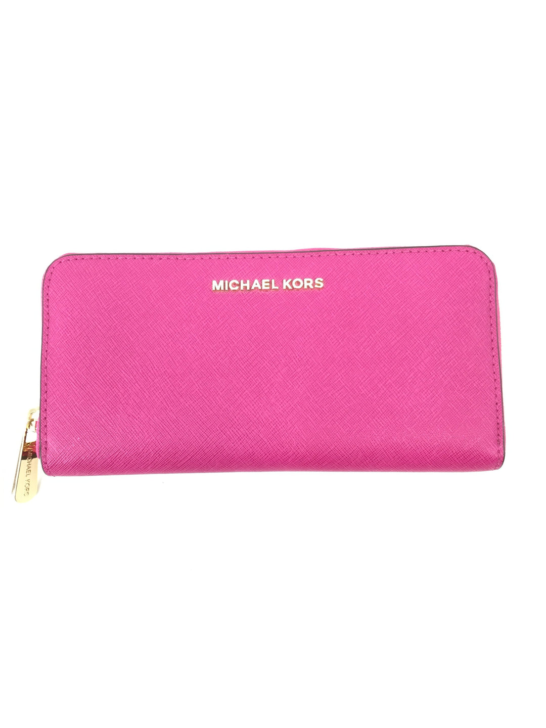 Michael Kors Pink Leather Wallet Size:medium - <P>LIKE NEW MICHAEL KORS BRIGHT PINK LEATHER WALLET. GOLD DETAILING WITH ZIP CLOSURE. PINK INTERIOR WITH ZIP POCKET AND EIGHT CARD SLOTS AND TWO LARGER POCKETS.</P>