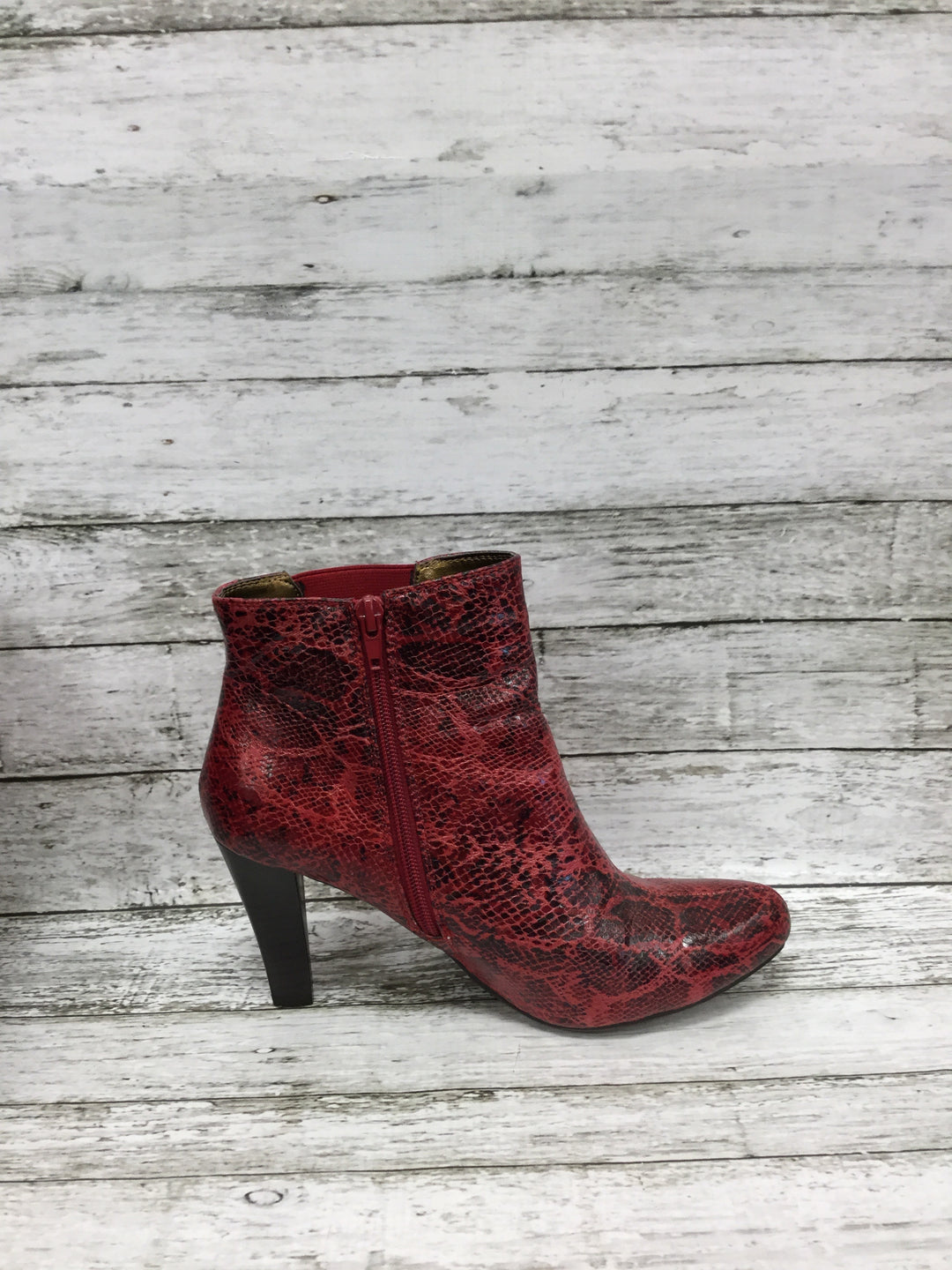 Photo #2 - BRAND: RIALTO , STYLE: BOOTS ANKLE , COLOR: RED , SIZE: 8.5 , SKU: 127-4876-8622, , RED SNAKESKIN HEELED BOOTIES!