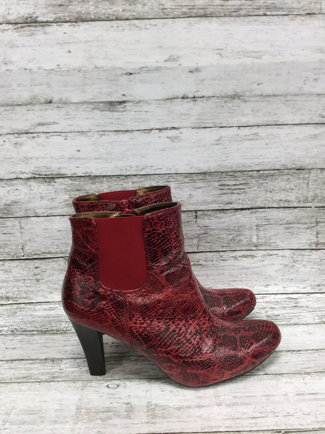 Photo #1 - BRAND: RIALTO , STYLE: BOOTS ANKLE , COLOR: RED , SIZE: 8.5 , SKU: 127-4876-8622, , RED SNAKESKIN HEELED BOOTIES!