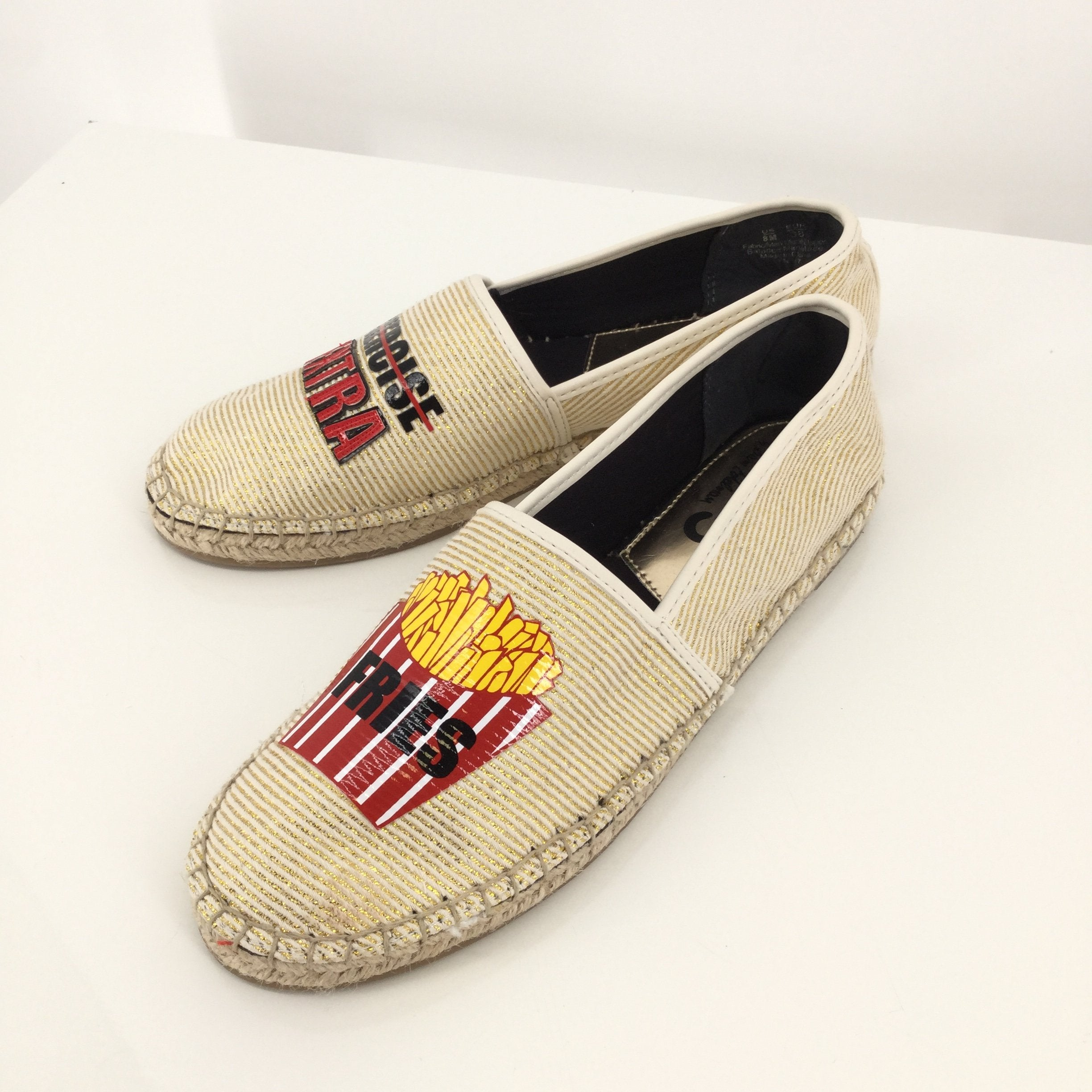 Gold French Fry Sam Edelman Espadrilles Size: 8  - <P>GOLD AND TAN ESPADRILLES WITH RED AND BLACK FRENCH FRY DETAIL. SUPER CUTE AND A SIZE 8 IN EXCELLENT CONDITION.</P>