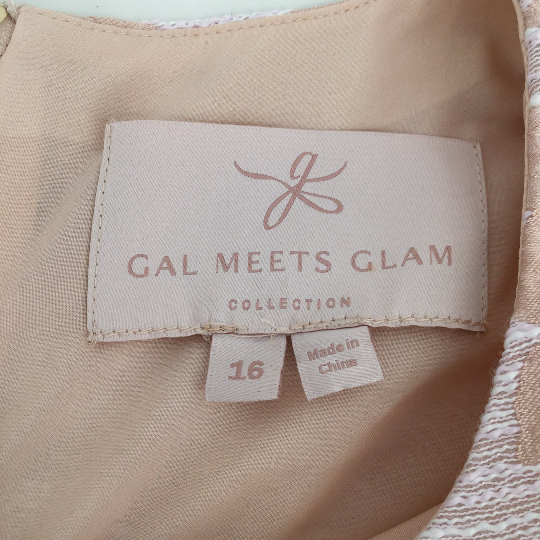 Gal Meets Glam Short Sleeve Dress, Peach, White, Size: 16 - <P>THIS GAL MEETS GLAM DRESS IS A SIZE 16. THIS DRESS ZIPS IN THE BACK. IT IS IN GREAT CONDITION AND DOES NOT LOOK LIKE IT HAS BEEN WORN MUCH.</P>