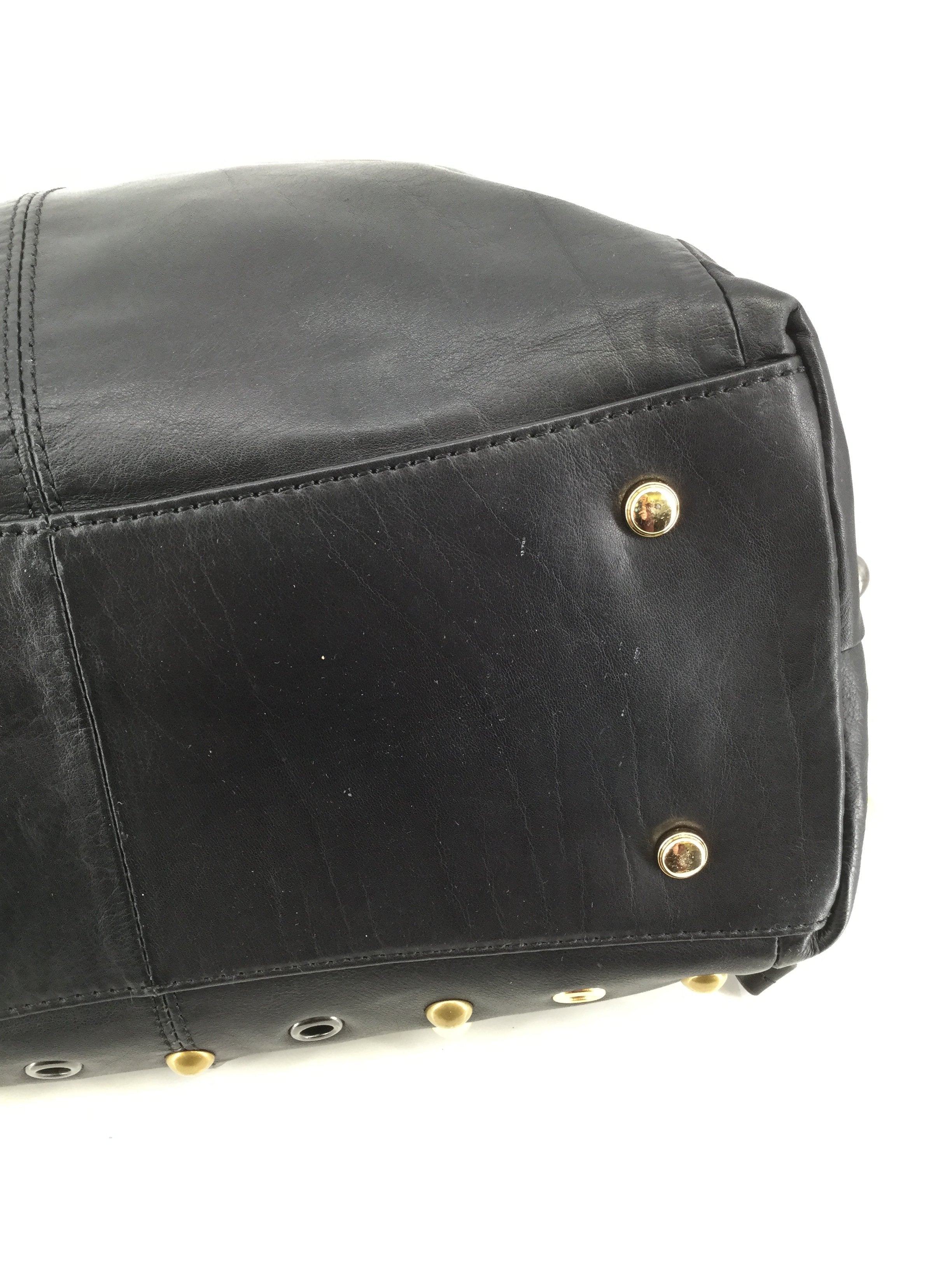 B Makowsky Studded Designer Handbag, Black, Size Medium - <P>SAY HELLO TO THIS BEAUTY, BLACK STUDDED B MAKOWSKY DESIGNER HANDBAG UP FOR GRABS. MINOR CONDITION ON HARDWARE AND BOTTOM OF BAG, (SEE PHOTOS). MAKE HER YOURS TODAY FOR JUST $48.</P>