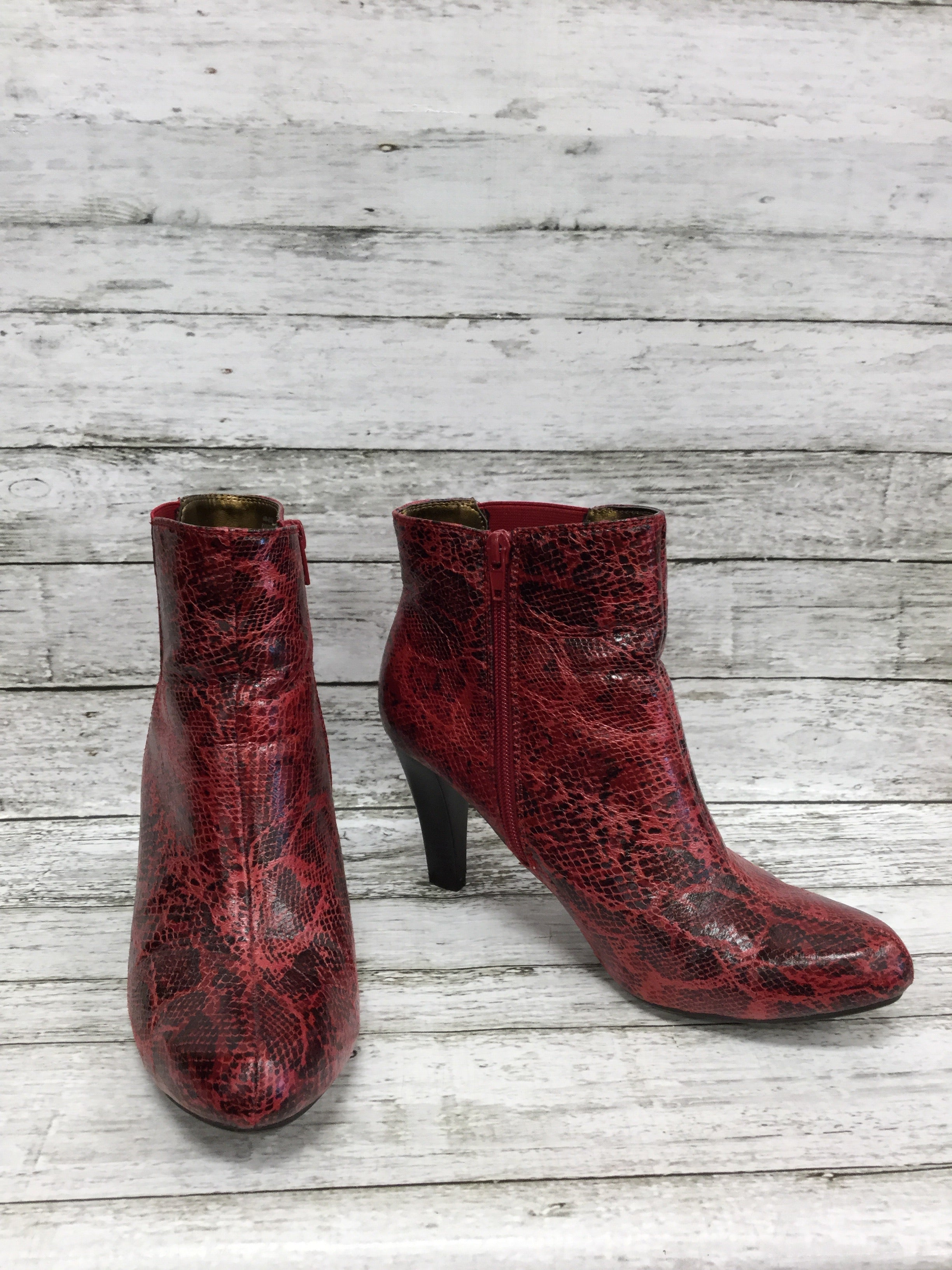 Primary Photo - BRAND: RIALTO , STYLE: BOOTS ANKLE , COLOR: RED , SIZE: 8.5 , SKU: 127-4876-8622, , RED SNAKESKIN HEELED BOOTIES!