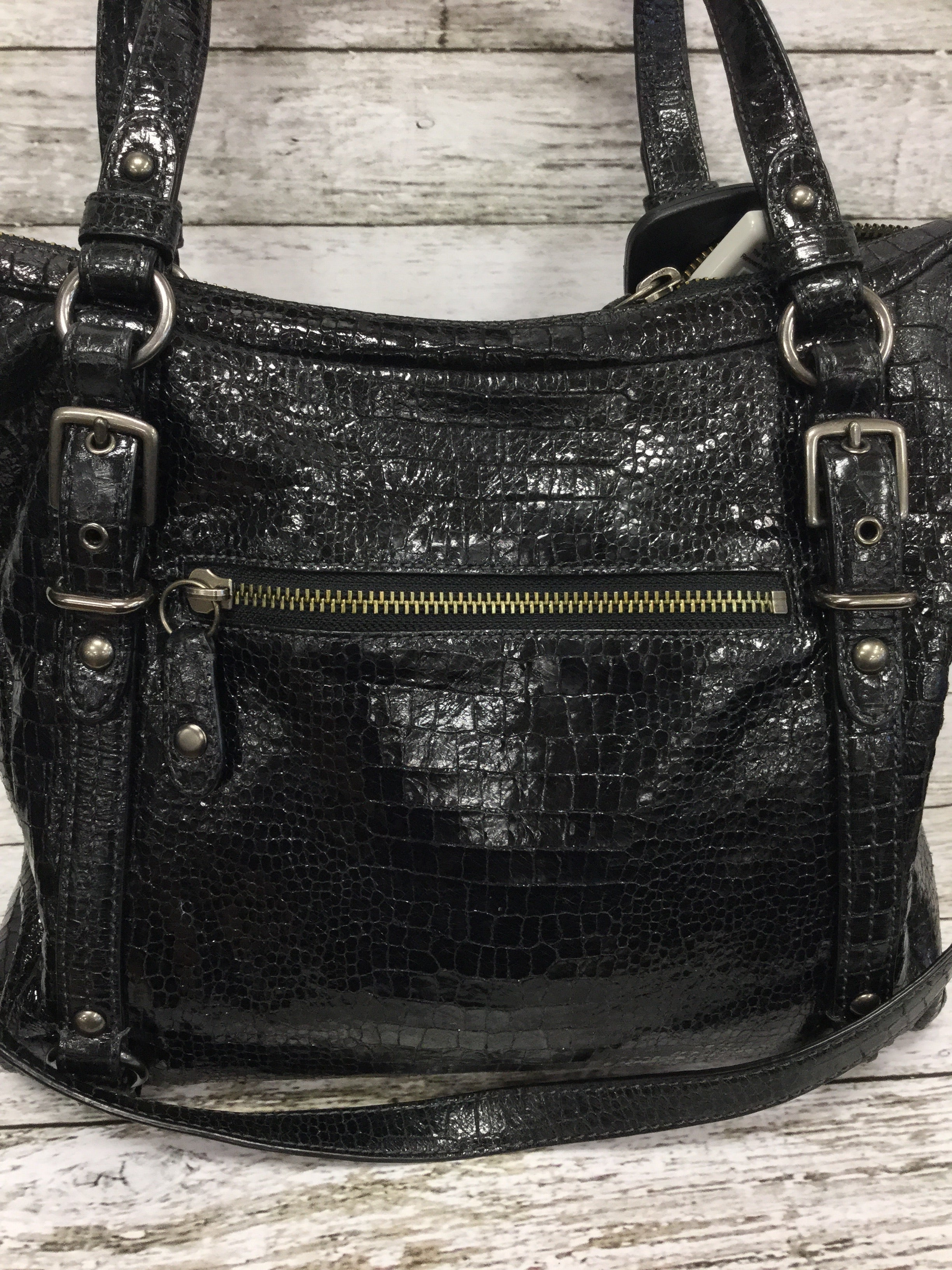 Photo #1 - BRAND: COACH , STYLE: HANDBAG , COLOR: BLACK , SIZE: LARGE , OTHER INFO: ALEXANDRA , SKU: 127-4942-3300, , THIS LEATHER COACH HANDBAG IS IN VERY GOOD CONDITION WITH SOME MINOR WEAR. THE INSIDE AND OUTSIDE ARE BOTH VERY CLEAN.