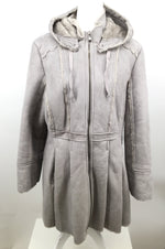 ANA COAT LONG SIZE:L - <P>LOVELY ZIP UP COAT BY ANA. FAUX FUR LINING. BETWEEN TAUPE AND GREY. MEASURES APPROXIMATELY 23