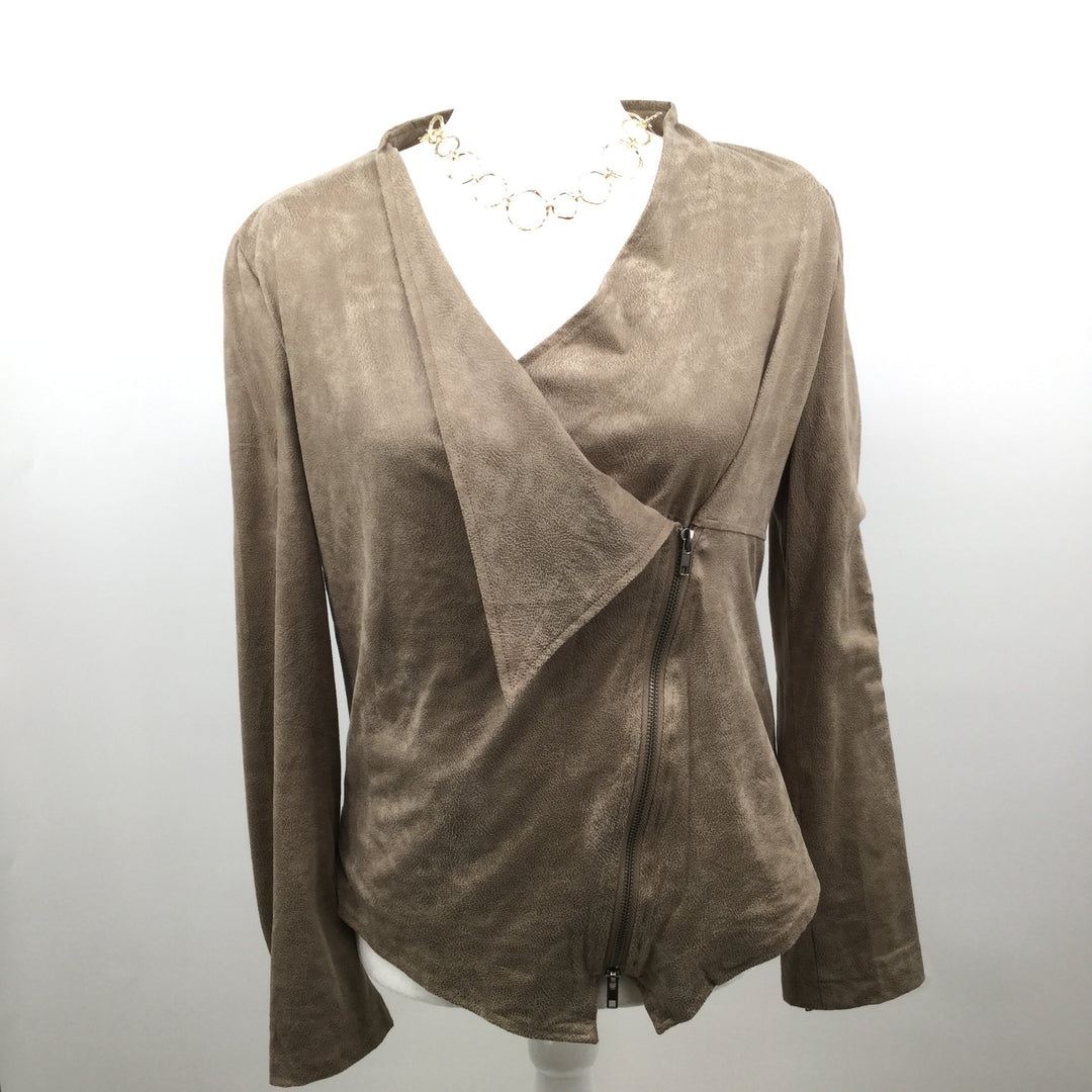 Milla Zip-Up Jacket - <P>NEW WITH TAGS! MICROSUEDE BLAZER JACKET IN SIZE M. COLOR IS A WARM TAUPE. PVC, RAYON AND SPANDEX.</P>