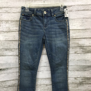 Primary Photo - BRAND: INTERNATIONAL CONCEPTS STYLE: JEANS COLOR: DENIM SIZE: 0 OTHER INFO: PETITE SKU: 127-4954-5088THESE JEANS ARE IN VERY GOOD CONDITION. THEY HAVE SPARKLY DETAILS ALONG THE SIDES OF BOTH LEGS.
