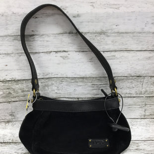 Primary Photo - BRAND: UGG STYLE: HANDBAG COLOR: BLACK SIZE: SMALL SKU: 127-4954-1419SUEDE UGG HANDBAG WITH A SHEEPSKIN TRIM. GENTLY USED WITH SOME MINOR FADING AND WEAR. VERY CLEAN INSIDE.