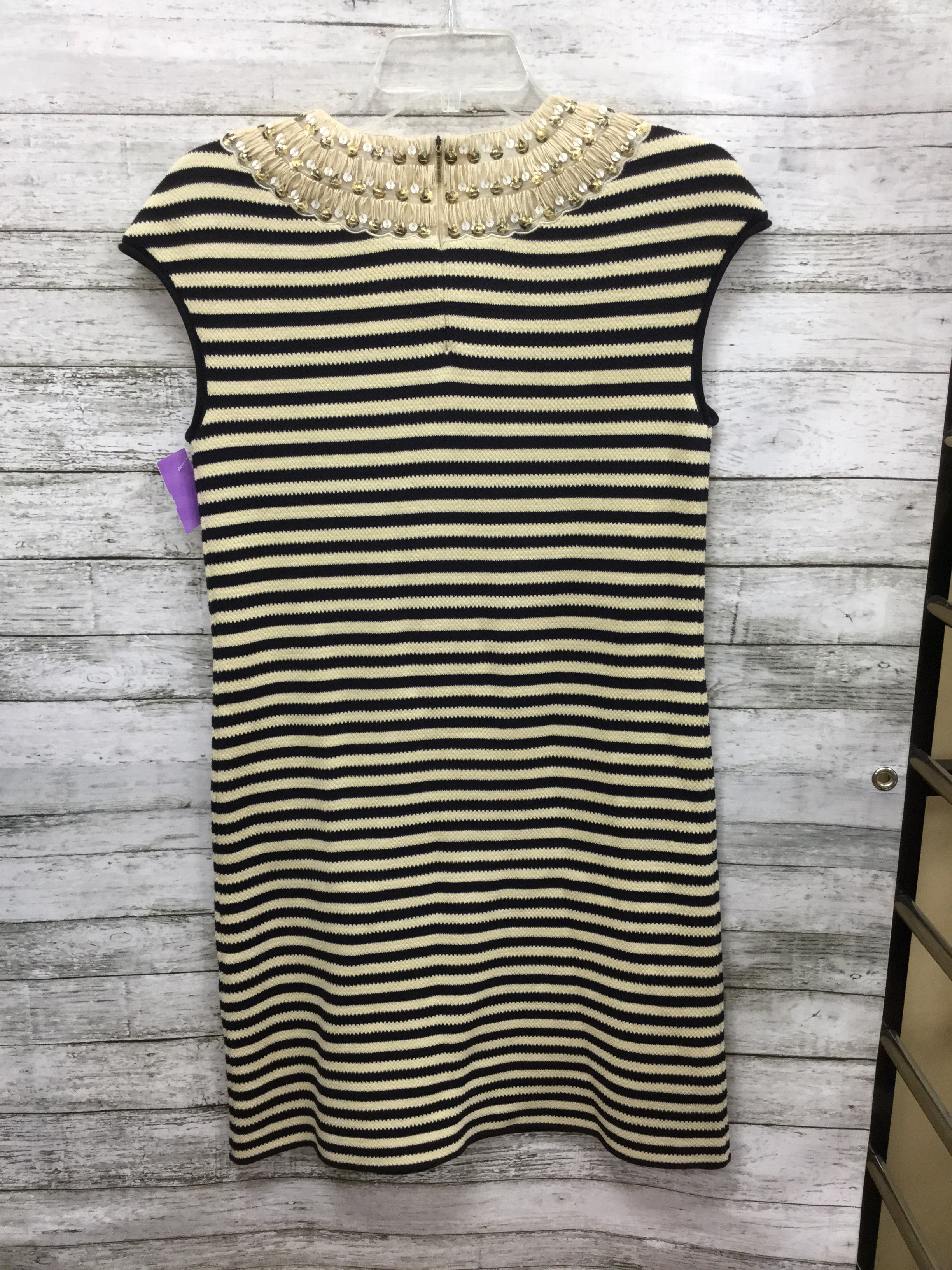 Photo #1 - BRAND: TORY BURCH , STYLE: DRESS SHORT SLEEVELESS , COLOR: STRIPED , SIZE: S , SKU: 127-4169-35679, , CREAM AND BLACK KNIT TORY BURCH DRESS! SEQUIN TRIM DETAIL AROUND NECK AND CAP SLEEVES.