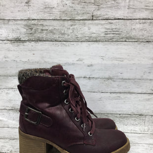 Primary Photo - BRAND: CARLOS SANTANA STYLE: BOOTS ANKLE COLOR: MAROON SIZE: 6.5 SKU: 127-3371-44982BURGUNDY CHUNKY SOLE COMBAT STYLE CARLOS SANTANA BOOTS! FEATURES BLOCK HEEL, SOCK TRIM, BUCKLE DETAIL AND SIDE ZIPPER.