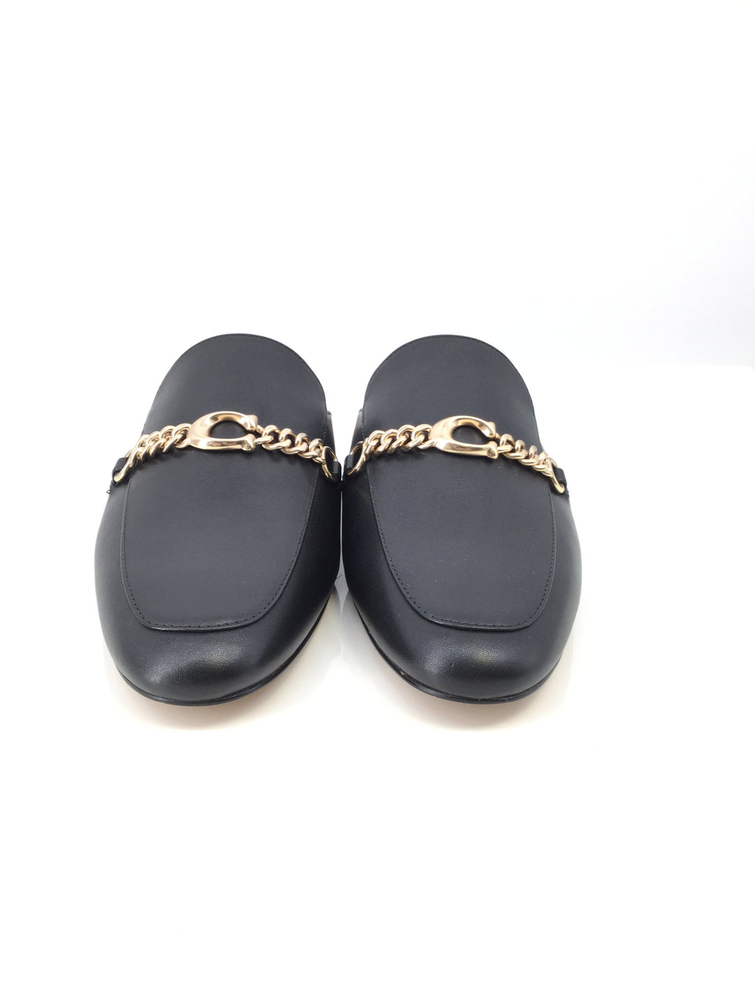 Coach Shoes Designer Size:9.5 - <P>BLACK COACH MULES WITH GOLD CHAIN DETAILING. SIZE 9.5.</P>