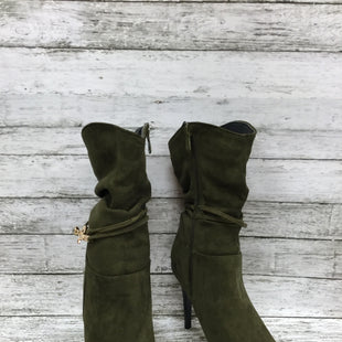 Primary Photo - BRAND:    CMD STYLE: BOOTS ANKLE COLOR: GREEN SIZE: 11 OTHER INFO: HOYVOY - SUEDE SKU: 127-4942-3000OLIVE GREEN SLOUCHY SUEDE HEELED BOOTS WITH WRAP AROUND GOLD DETAIL!