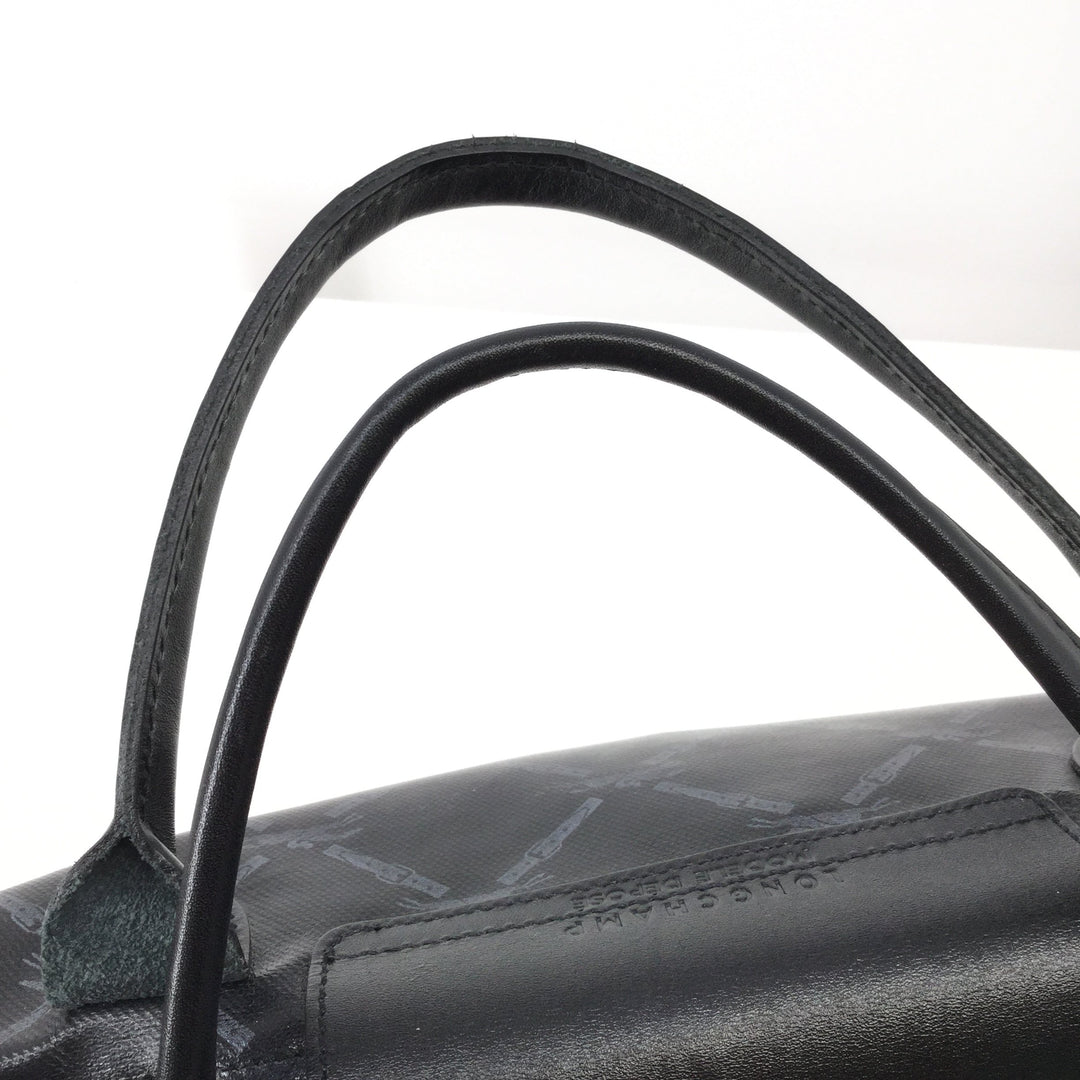 Black Longchamp Handbag Size:large - <P>LIKE NEW! LARGE BLACK LONGCHAMP HANDBAG. CLASSIC DESIGN WITH BROWN INTERIOR. ONE INTERIOR POCKET AND TONS OF ROOM.</P>