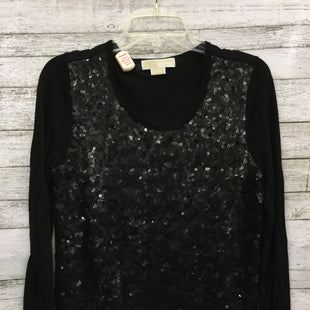Primary Photo - BRAND: MICHAEL BY MICHAEL KORS STYLE: TOP LONG SLEEVE COLOR: BLACK SIZE: L SKU: 127-2767-90973SEQUIN FRONT TOP BY MICHAEL BY MICHAEL KORS. GENTLY USED WITH SOME MINOR WEAR.