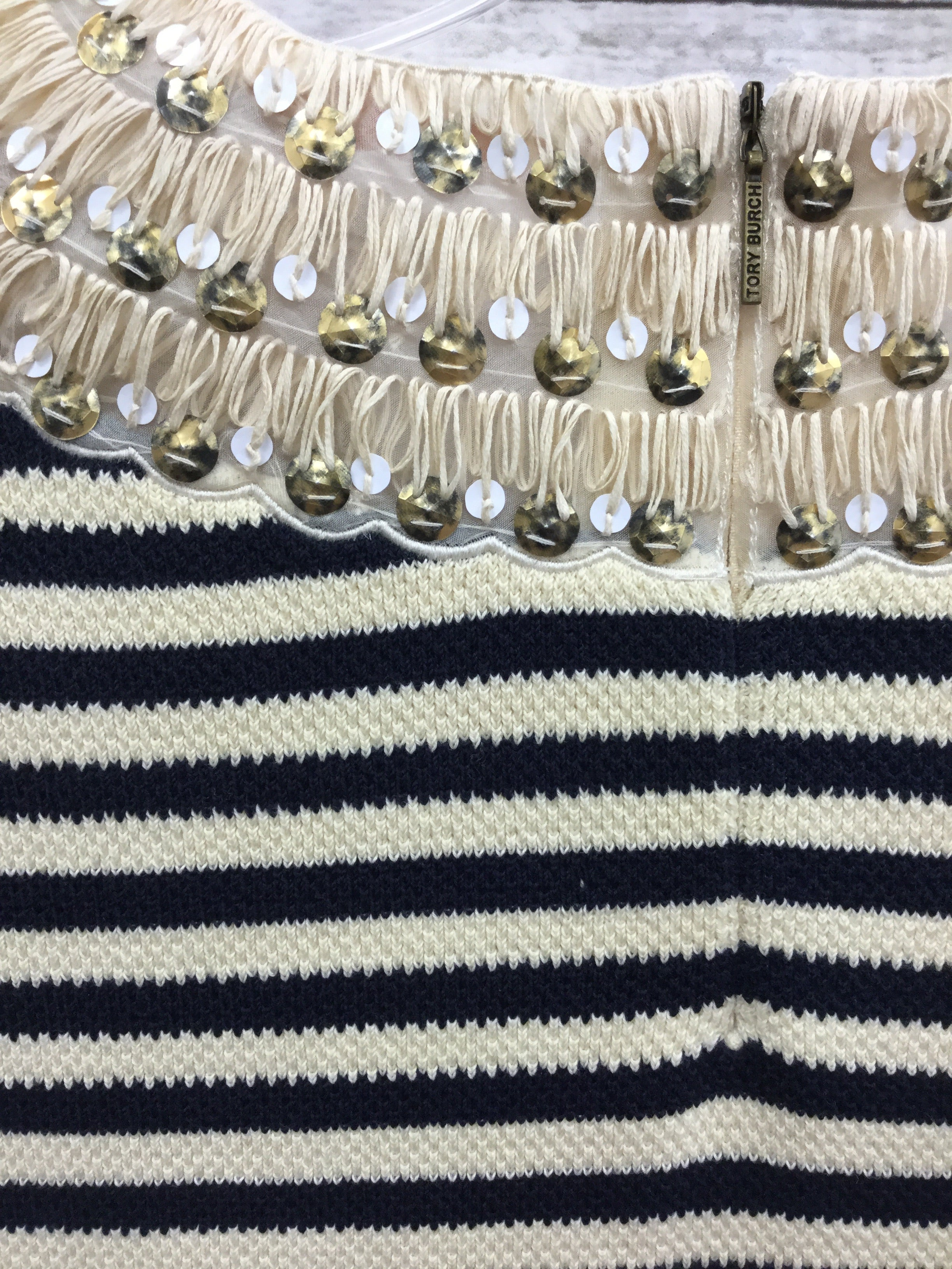 Photo #2 - BRAND: TORY BURCH , STYLE: DRESS SHORT SLEEVELESS , COLOR: STRIPED , SIZE: S , SKU: 127-4169-35679, , CREAM AND BLACK KNIT TORY BURCH DRESS! SEQUIN TRIM DETAIL AROUND NECK AND CAP SLEEVES.