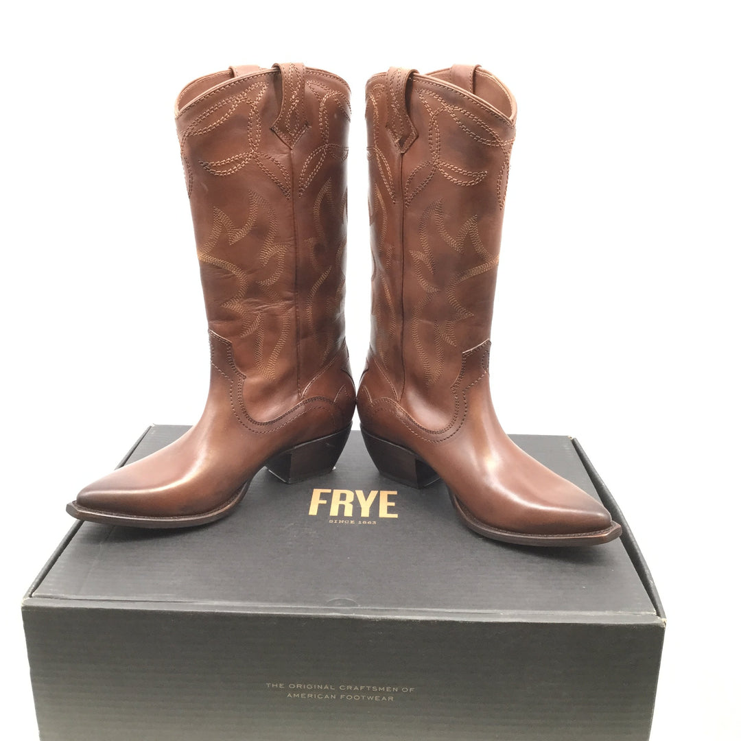 Frye Boots Knee Size:7.5 - <P>BROWN FRYE COWBOY STYLE BOOTS SIZE 7.5 AND COMES WITH THE BOX.</P>