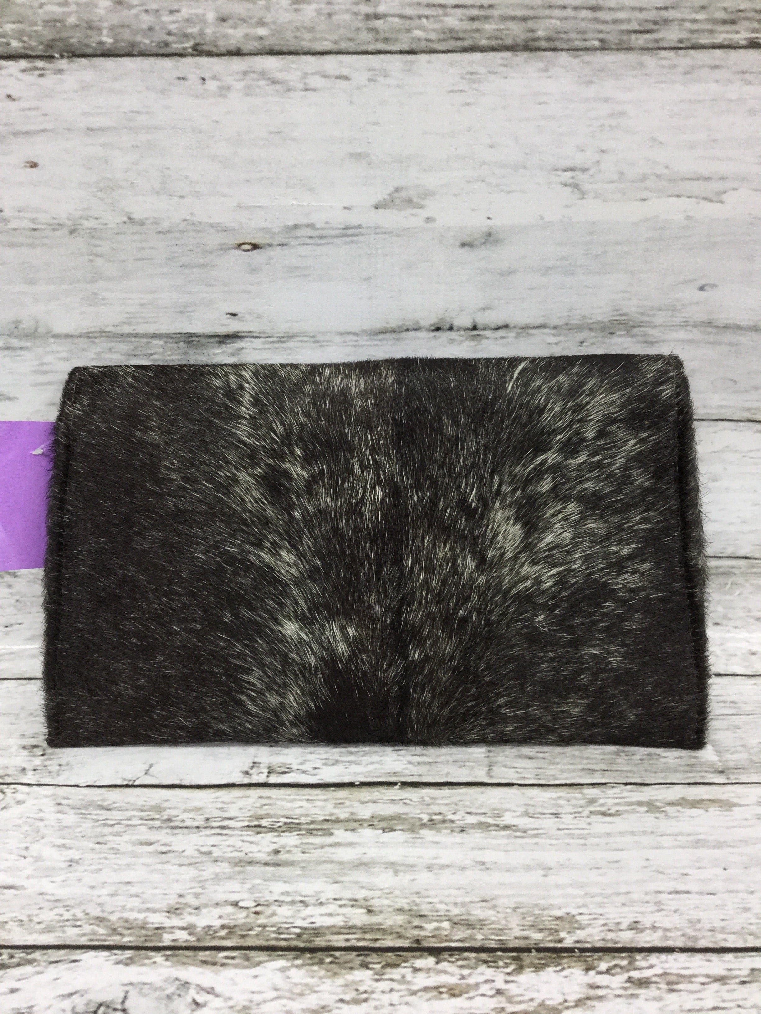 Photo #3 - BRAND:    CMD , STYLE: CLUTCH , COLOR: ANIMAL PRINT , OTHER INFO: JACKSON AND HYDE - , SKU: 127-4942-3369, , THIS CLUTCH IS HAIR-ON COWHIDE EXTERIOR WITH BLUE SUEDE INSIDE. IT CLOSES MAGNETICALLY. IT'S IN GREAT CONDITION AND COMES WITH A SLEEPER BAG!