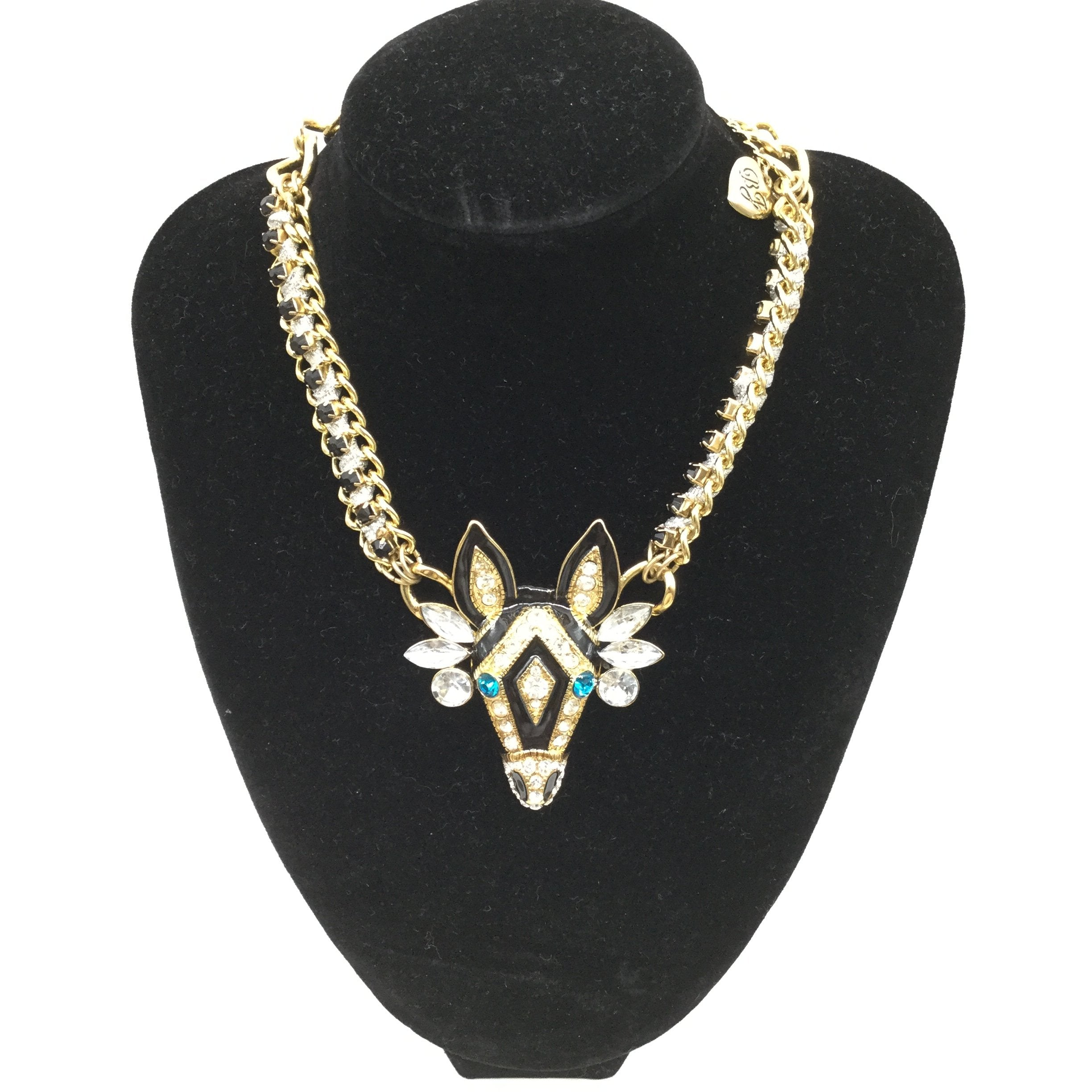 BETSY JOHNSON ZEBRA NECKLACE - <P>BJ ZEBRA NECKLACE. HAS MATCHING BRACELET ONLINE. ON EBAY FOR $49.99! GOLD-TONE.</P>