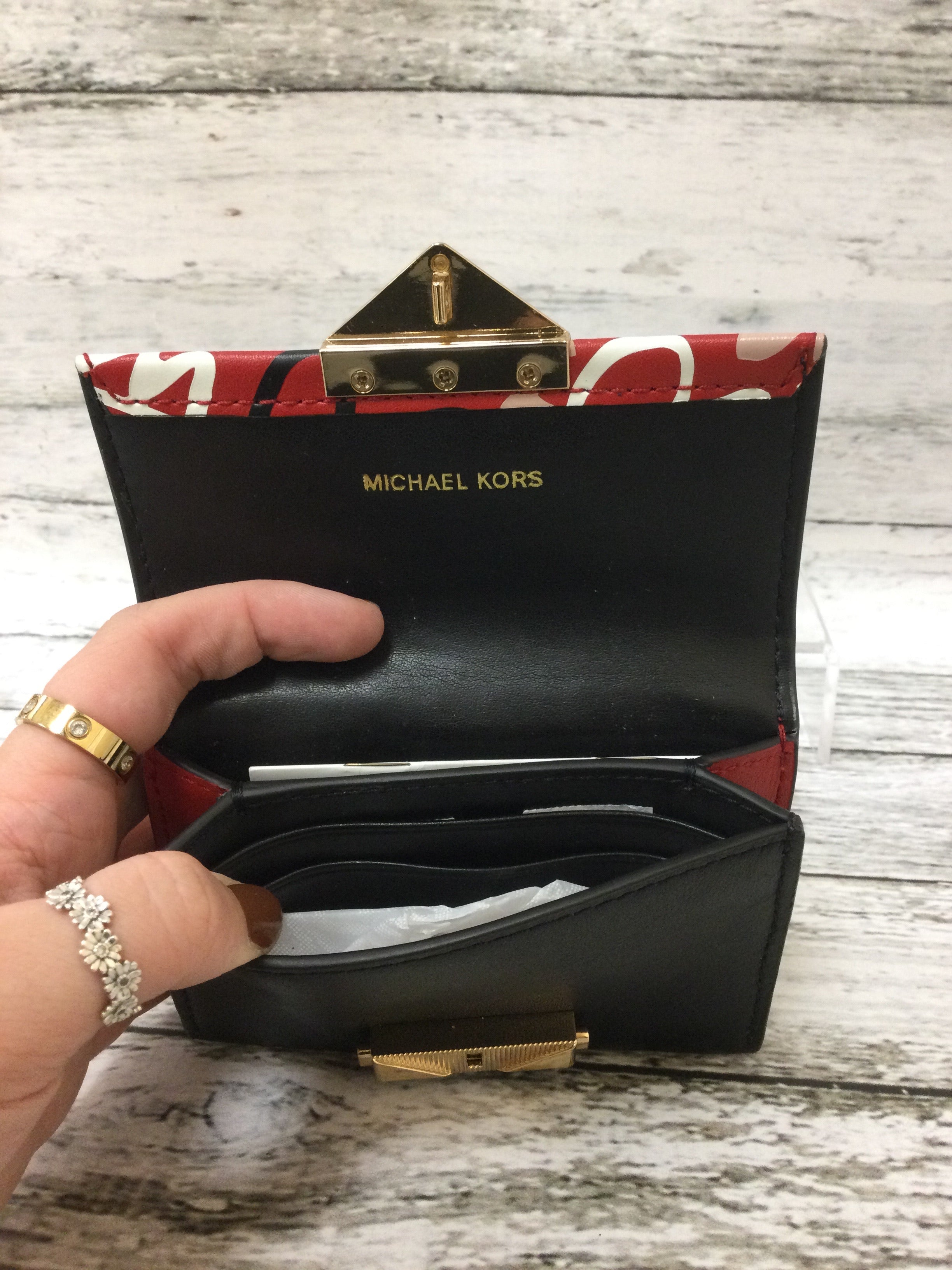 Photo #2 - brand: michael kors , style: wallet , color: black red , size: small , other info: cece small card case , sku: 125-1957-13873