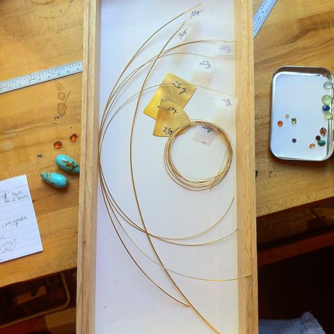 22k yellow gold sheet and wire Katy Beh