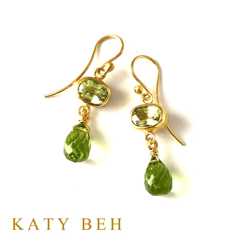 Custom Peridot Earrings 22k Gold Katy Beh Jewelry New Orleans