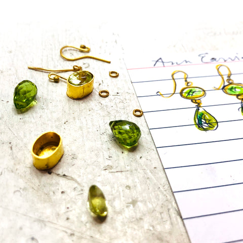 Custom August Birthstone Peridot 22k Gold Earrings Katy Beh New Orleans