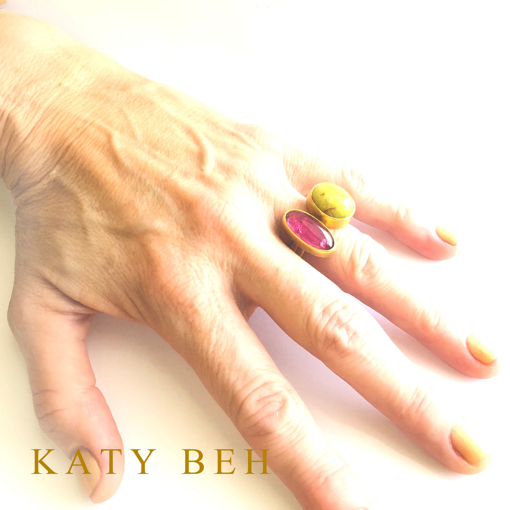 22k Gold Becca Rubellite Opal Ring Katy Beh Jewelry New Orleans